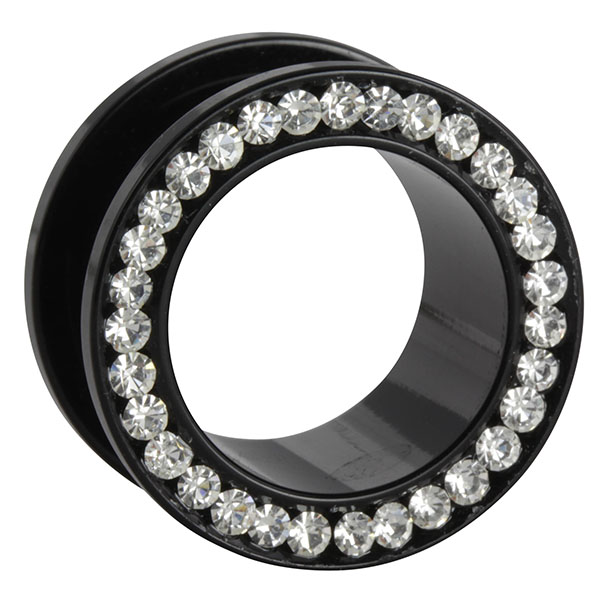 acryl flesh tunnel schwarz kristall klar acryl tunneltunnel. Black Bedroom Furniture Sets. Home Design Ideas