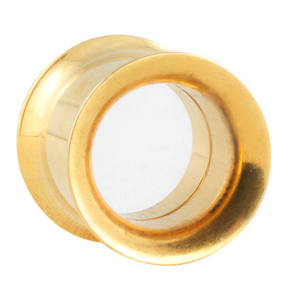 goldener double flared stahl flesh tunnel im shimo shop. Black Bedroom Furniture Sets. Home Design Ideas