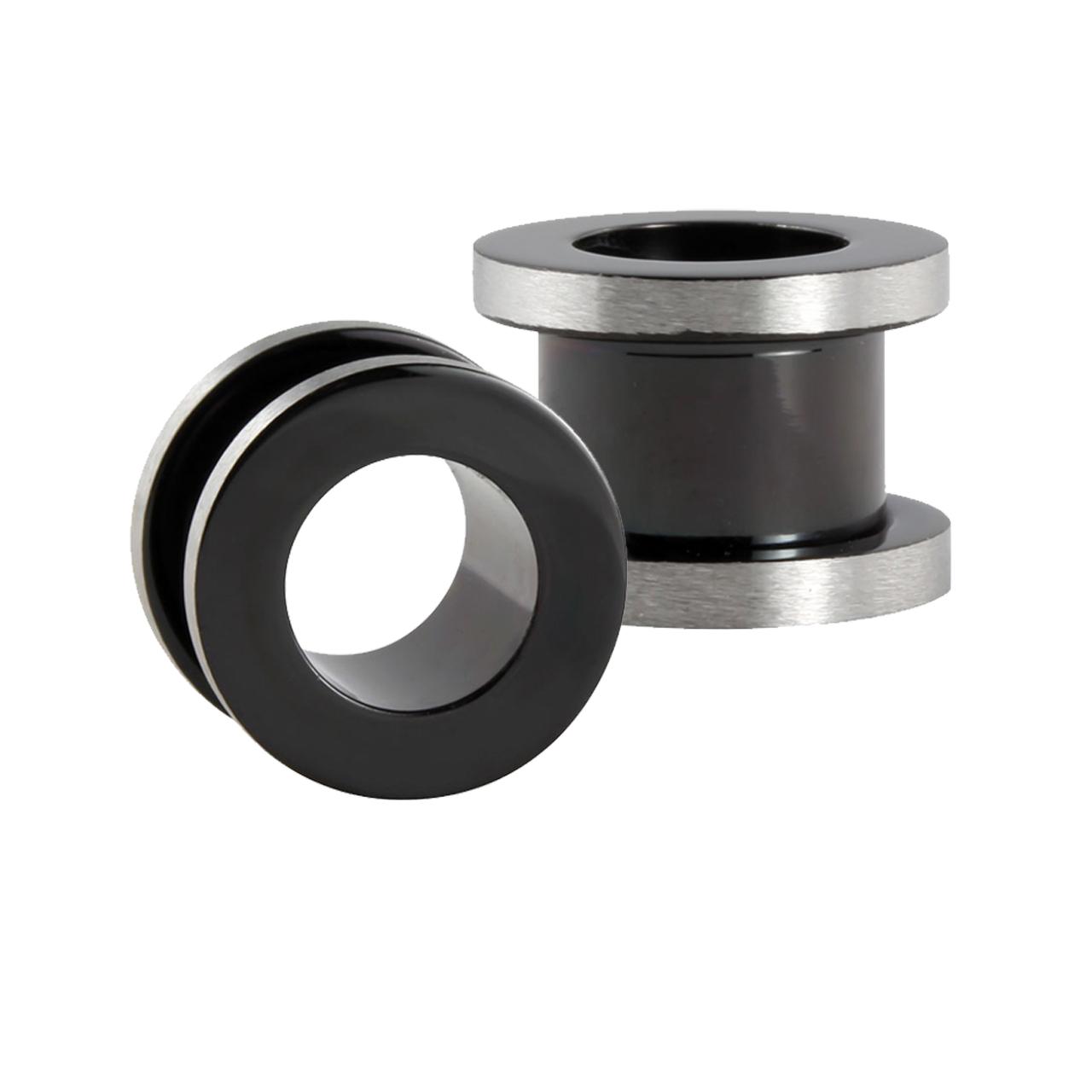 stahl flesh tunnel in schwarz mit poliertem silberfarbenen rand. Black Bedroom Furniture Sets. Home Design Ideas