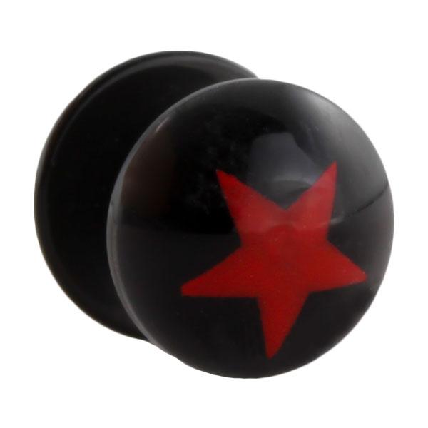 acryl fake plug schwarz mit rotem stern motiv fake plugsfake plugs. Black Bedroom Furniture Sets. Home Design Ideas