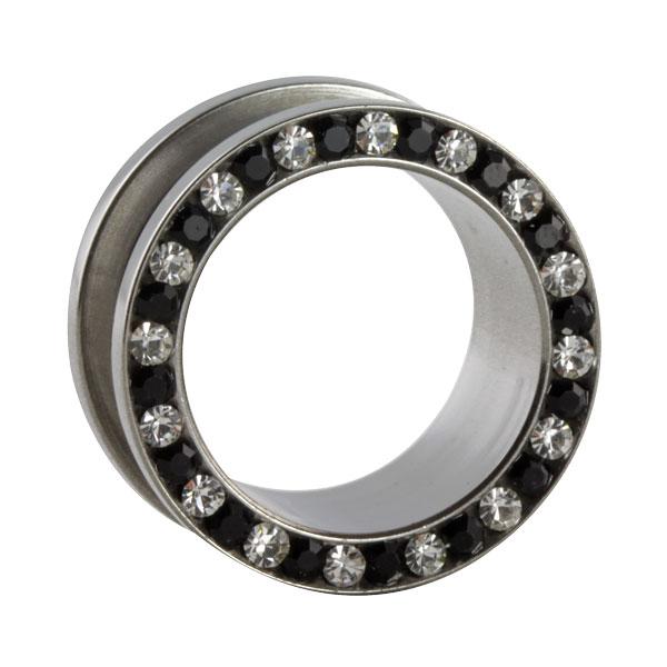 stahl tunnel mit schwarzen und klaren kristallen im shimo shop kaufen. Black Bedroom Furniture Sets. Home Design Ideas