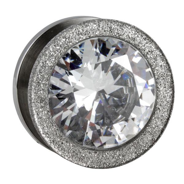 silberner stahl tunnel mit diamantenoptik und gro em kristall im shimo shop. Black Bedroom Furniture Sets. Home Design Ideas