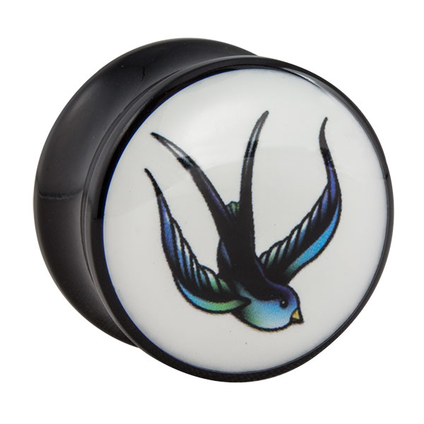 acryl plug schwarz mit schwalbenbild motiv plugsplugs. Black Bedroom Furniture Sets. Home Design Ideas