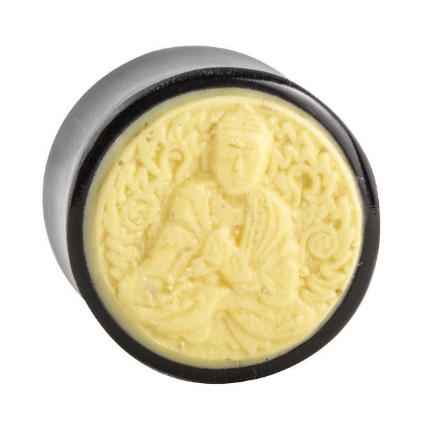 Horn Plug mit Knochen Inlay Buddha Motiv  Motiv PlugsPlugs