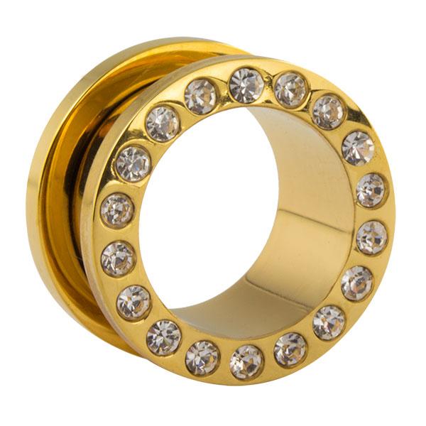 gold stahl flesh tunnel mit wei en kristallen im shimo shop. Black Bedroom Furniture Sets. Home Design Ideas