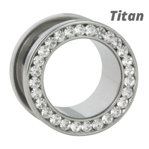 titan flesh tunnel dicht besetzt mit klaren kristallen jetzt in deinem shimo shop. Black Bedroom Furniture Sets. Home Design Ideas
