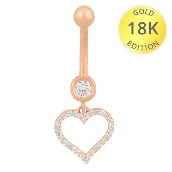 18 Karat Rosegold Bauchnabelpiercing mit Anhänger Herz